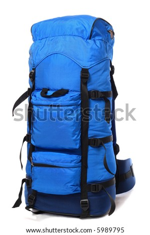 Packaged blue backpack, isolated on white background