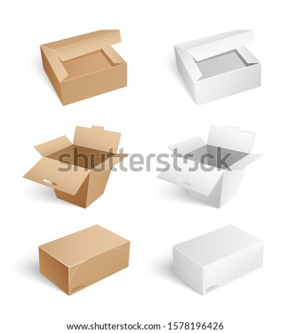 Packages and carton boxes isolated icons on whitebackground set raster. Containers with open caps, closed sealed cartons with adhesive tape, closed and open