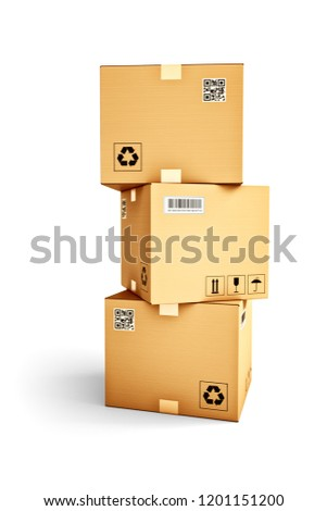 Packages delivery and parcels transportation concept, stack of cardboard boxes isolated on white background, 3d illustration