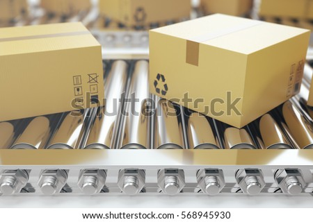Packages delivery, packaging service and parcels transportation system concept, cardboard boxes on conveyor belt, 3d rendering