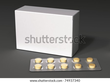 Packaging and yellow pill with a gray background