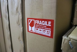 Packaging box with fragile sticker