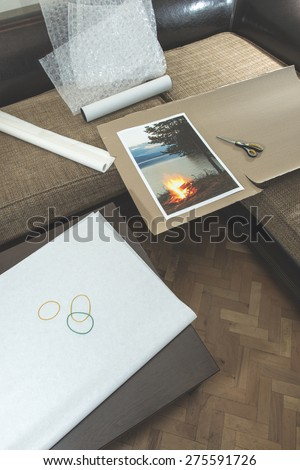 Packaging of printed wall art picture. Printed landscape photography