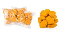 Packaging tasty nuggets on a white background.
