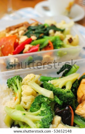 Packed Chinese set lunch or dinner with variety of colorful vegetables. Suitable for food and busy lifestyle, healthy eating and diet and nutrition concepts.