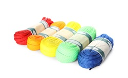 Packed colorful shoe laces on white background