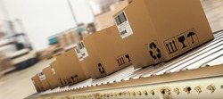 Packed courier on production line against  cardboard boxes in warehouse