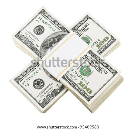 packed dollar money isolated on white background