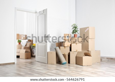 Packed household stuff for moving into new house #564626791