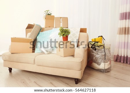 Packed household stuff for moving into new house #564627118
