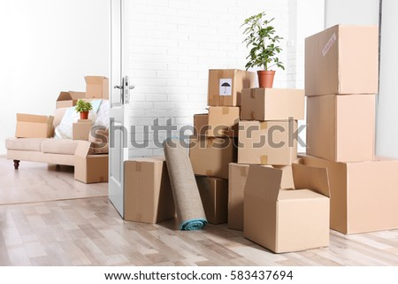 Packed household stuff for moving into new house #583437694