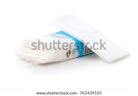 Packet of tissues isolated on the white background. Hygienic tissues for disposable usage. Napkins easily recyclable in plastic packet with bar code. Ten tissues in the packet on white background.