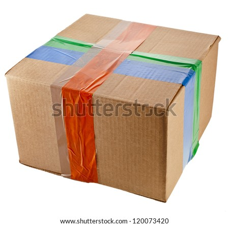 packing box closed  with colored adhesive tape  isolated on white background