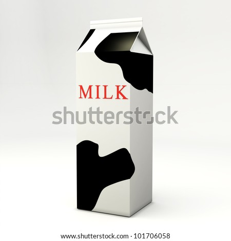Packing for milk on a white
