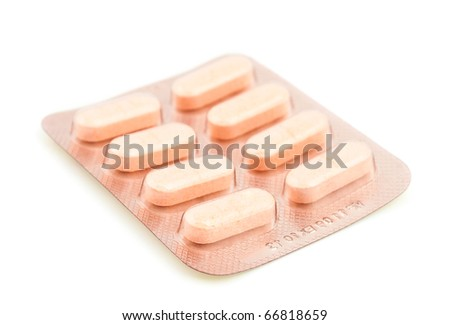 packing of tablets on a white background