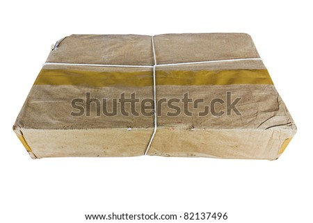 Packing old box tied with a rope on a white background - stock photo