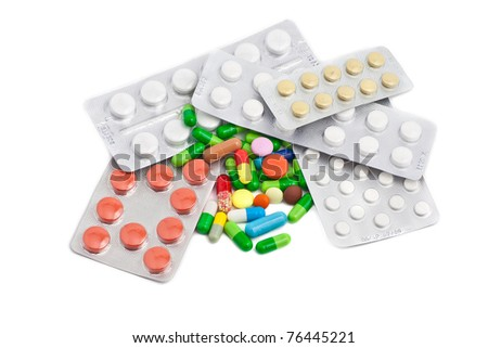 Packing pills isolated on a white background