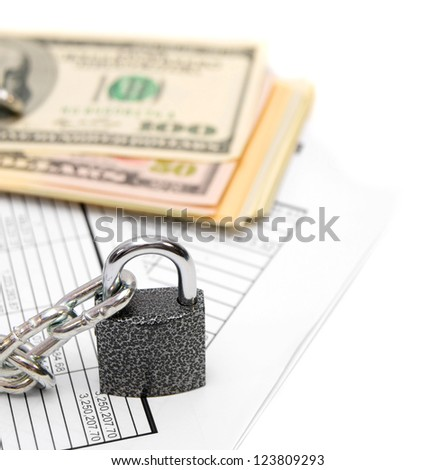 Packs of dollars, documents and chain with the lock. On a white background.