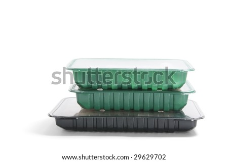 Packs of Fresh Food on White Background