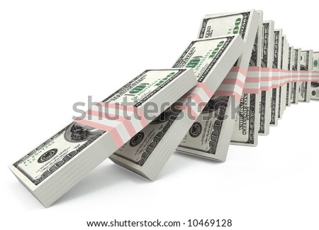 Packs of US dollars falling down like domino. Conceptual illustration of falling course of dollar. 3d model