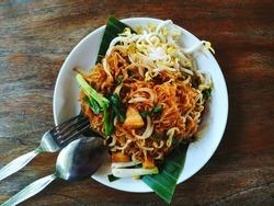 Pad Mee Korat (Pad Thai), stir-fried noodle Thai Isan style.