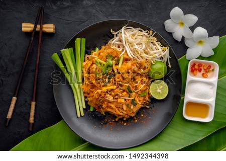 Pad Thai , Thai style noodles , Pad Thai on the table, top view, copy space