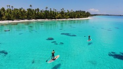 Paddle board Lagoon in French Polynesia