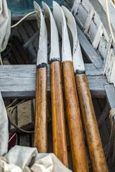paddle boat, dinghy, folded oars