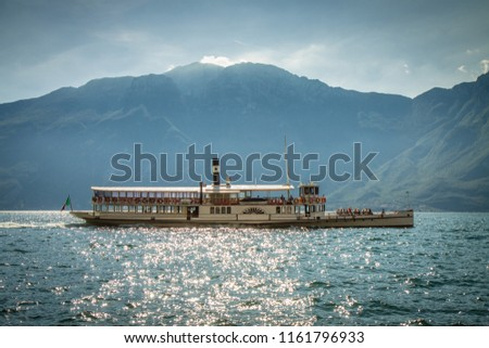 Paddle steam boat Lago di Garda Italy