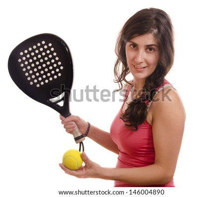 Paddle tennis player. Posing girl isolated on white.