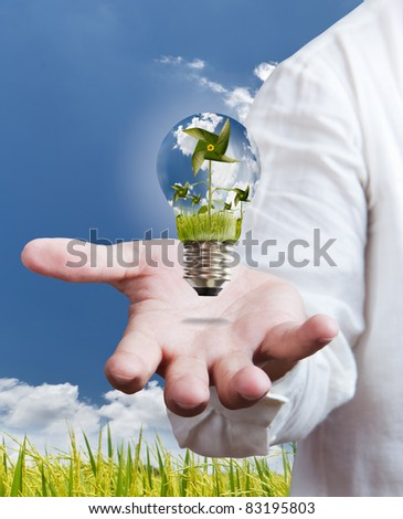 paddle , windmill and blue sky in light bulb on hand