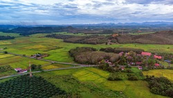 paddy field n village from drone view at pendang, kedah, beautiful as background