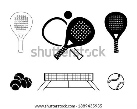 Padel tennis icon set in black and white Сток-фото ©