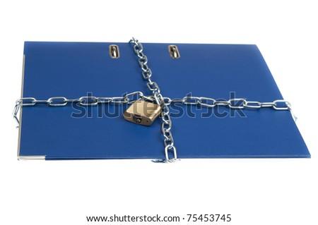 Padlock and chain on folder