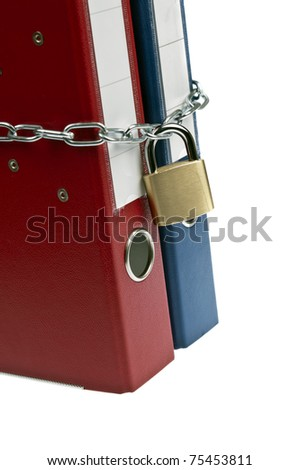 Padlock and chain on folder