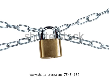 Padlock and chain on white