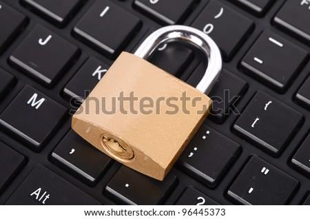 Padlock and computer keyboard
