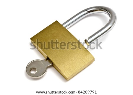 Padlock and key isolated on white background