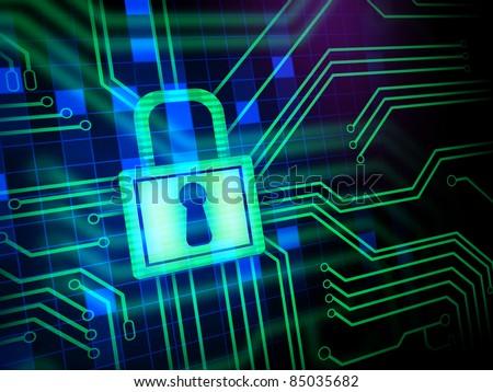 Padlock and keyhole in a printed circuit. Digital illustration.