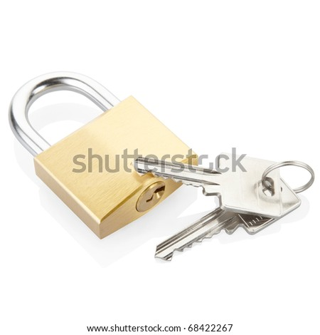 Padlock and keys isolated on white, clipping path included