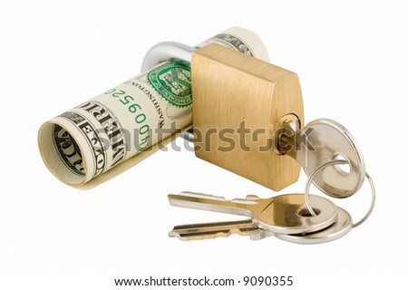 Padlock and keys with banknote inside over white background