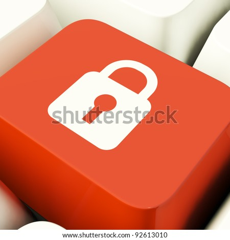 Padlock Icon Computer Key Showing Safety Security Or Protected