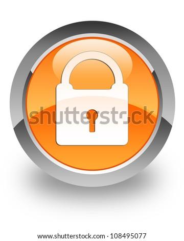 Padlock icon on glossy orange round button