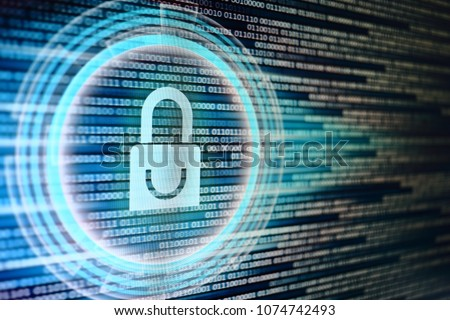 padlock icon on LED computer display screen with binary code moving in the background. password and data privacy protection in internet data transfer concepts. cyber network security blue color. - Shutterstock ID 1074742493