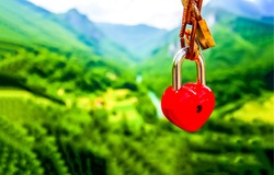 Padlock in the shape of a red heart. Padlock red heart. Padlock heart. Red padlock heart