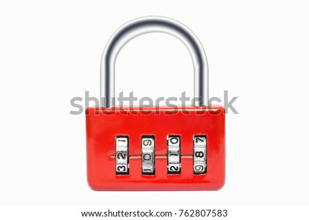 Padlock luggage lock code 2018 new year on white background with clipping path