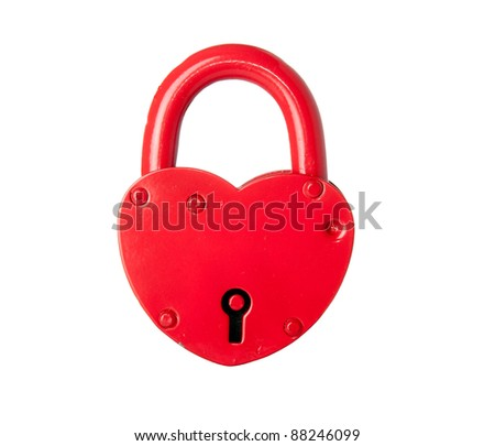 Padlock made ??in the form of the heart. Is isolated.