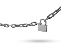 Padlock Metal chain isolated on white background