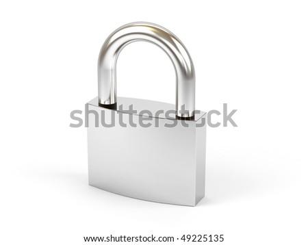 Padlock on a white background. - stock photo