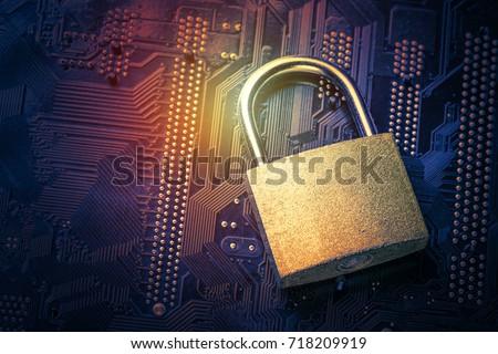 padlock on computer motherboard....